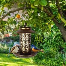Lampe solaire suspendue Vintage, mangeoire pour oiseaux lampes d'extérieur, étanche, avec capteur sensible, contrôle, idéal pour un jardin