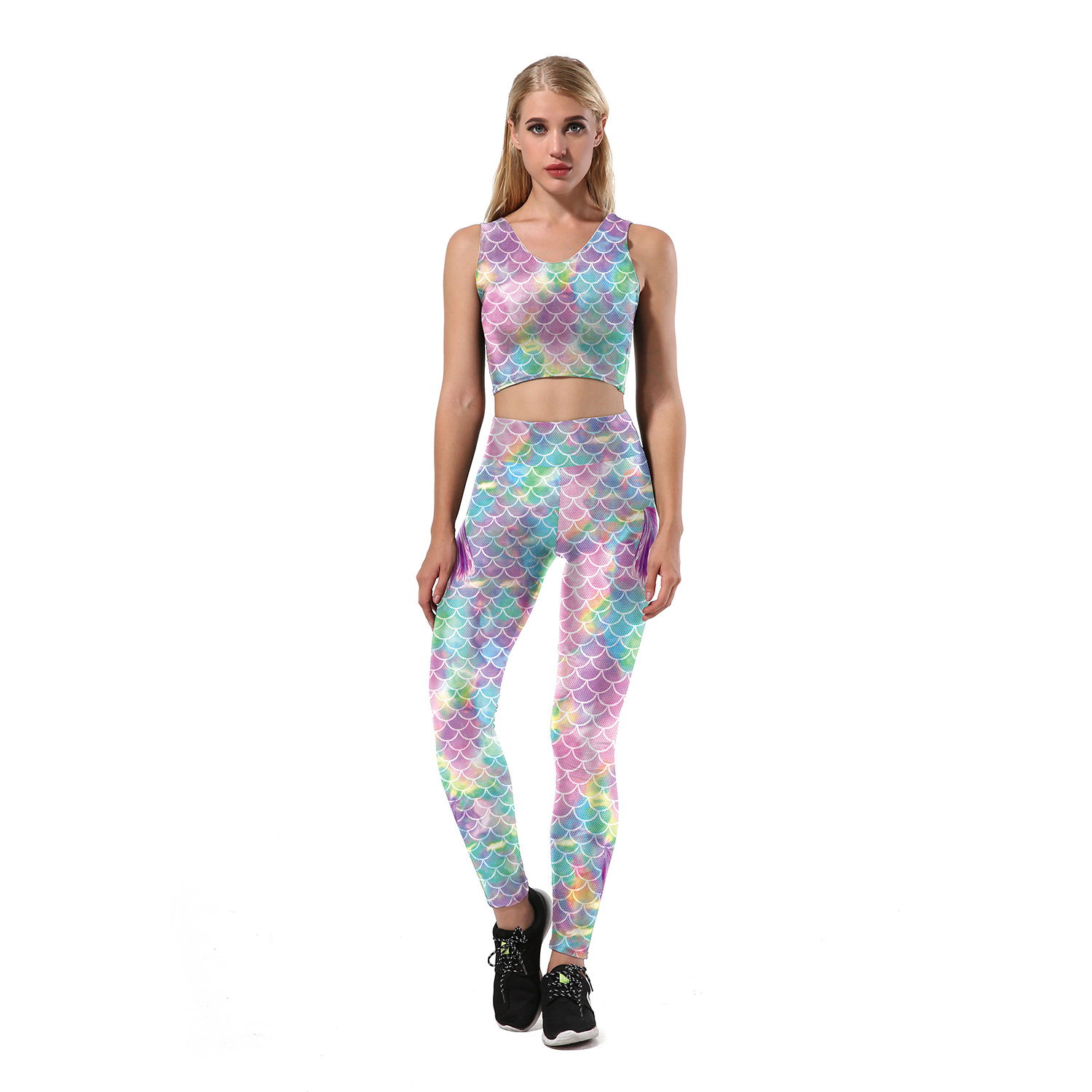 Summer New European And American-Style Hot Selling Origional 3D Digital Printed Mermaid Set Vest High-waisted Athletic Pants