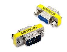 Db9 9pin macho para macho/fêmea para fêmea/macho para fêmea mini adaptador rs232 serial do cambiador de gênero conector com