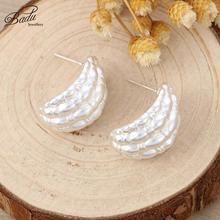 BAdu Women Silver Stud Earrings 2019 New Uneven Surface Statement Metal Irregular Shape Jewelry Wholesale Gift Ladies