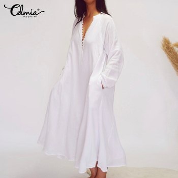 S-5XL Celmia 2020 Women White Shirt Dress Women Sexy V-Neck Long Sleeve Solid Ruffles Dress Plus Size Casual Loose Vestidos Robe women summer red color long sleeve v neck cotton plus size kaftan dress s 5xl
