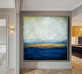 Large Canvas Abstract Art Blue Painting Gray Painting Sunset Painting Abstract Painting On Canvas Wall Painting For Living Room