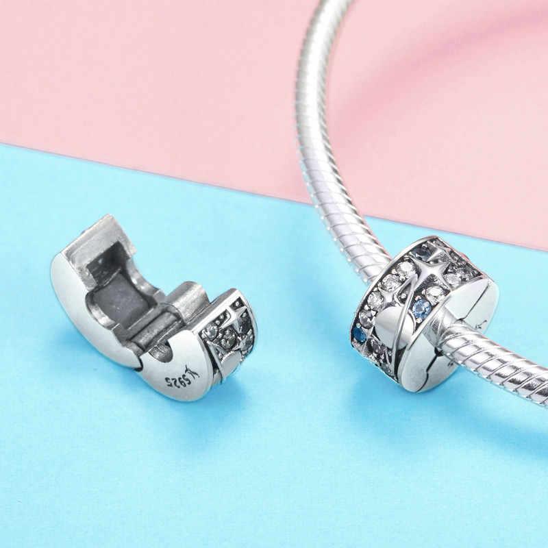 Chính hãng Nữ Bạc 925 Hạt Trăng Sao Hành Tinh Hạt Kẹp Quyến Rũ phù hợp với Ban Đầu Pandora Vòng Tay & Vòng Cổ Nữ TỰ LÀM Trang Sức