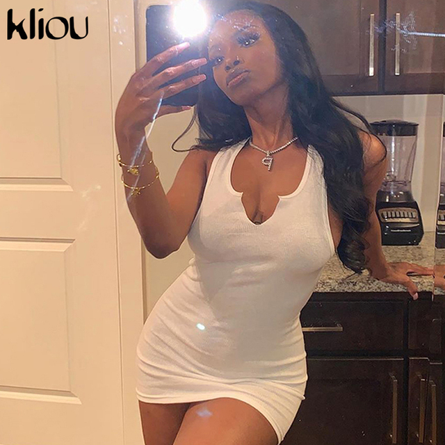 Kliou cotton sleeveless v-neck women dress elastic fitness fashion solid white skinny bodycon mini dresses streetwear outfits