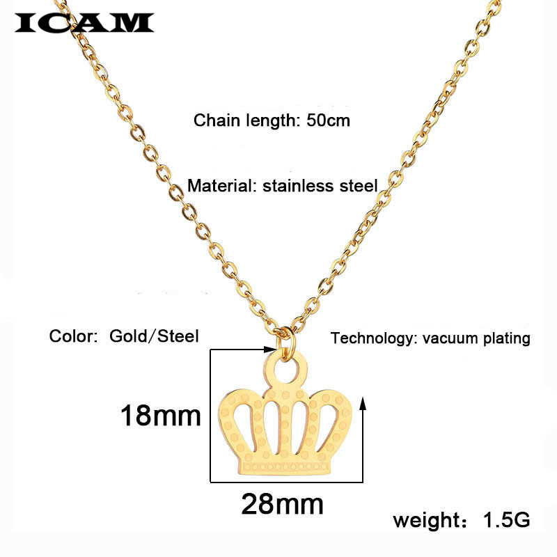Necklace for Men Stainless Steel Necklace For Women Man Lovers Cartoon Crown Gold Color Pendant Necklace Engagement Jewelry