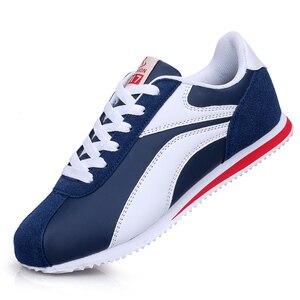 Image 1 - Leichte Turnschuhe für Männer Lace Up Casual Schuhe Mann Outdoor Wandern Männlichen Wohnungen Blau Grau Jogging Schuhe Trainer 8 8,5 9 9,5