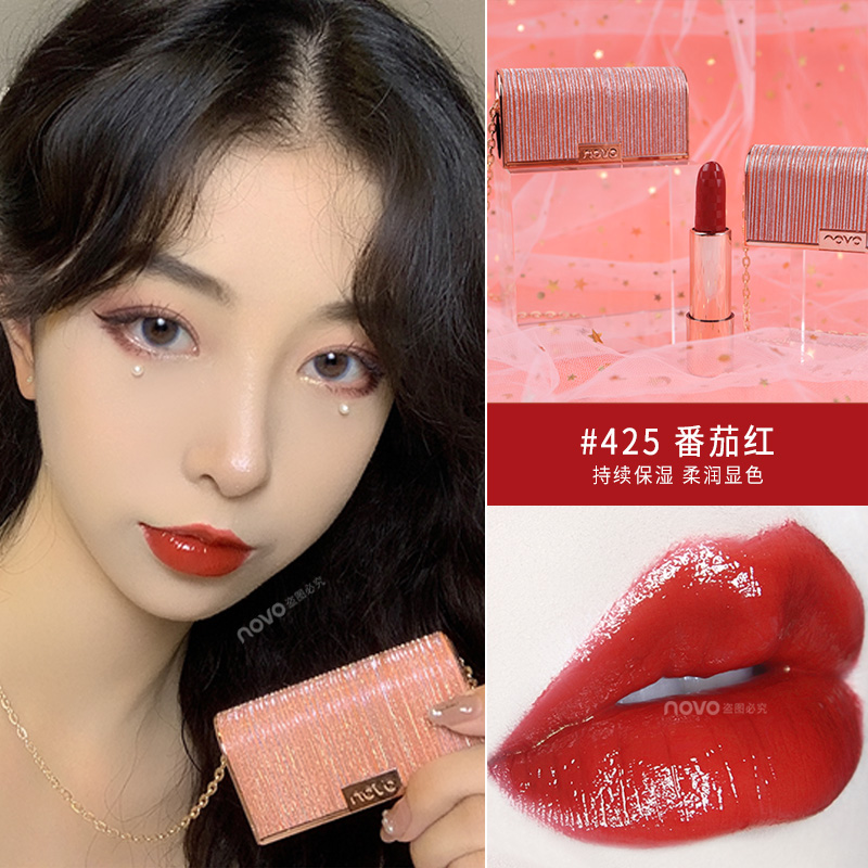 Novo velvet matte lipstick mini handbag shape with necklace tomato red brown soft lip cream waterproof moisture lipstick <font><b>BN180</b></font> image
