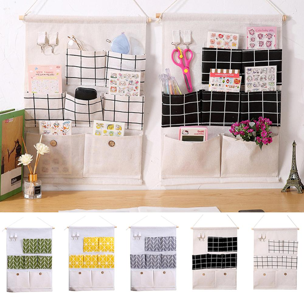 7-Pocket Over The Door Organizer Wall Closet Hanging Storage Bag Multilayer Linen Fabric Pouch