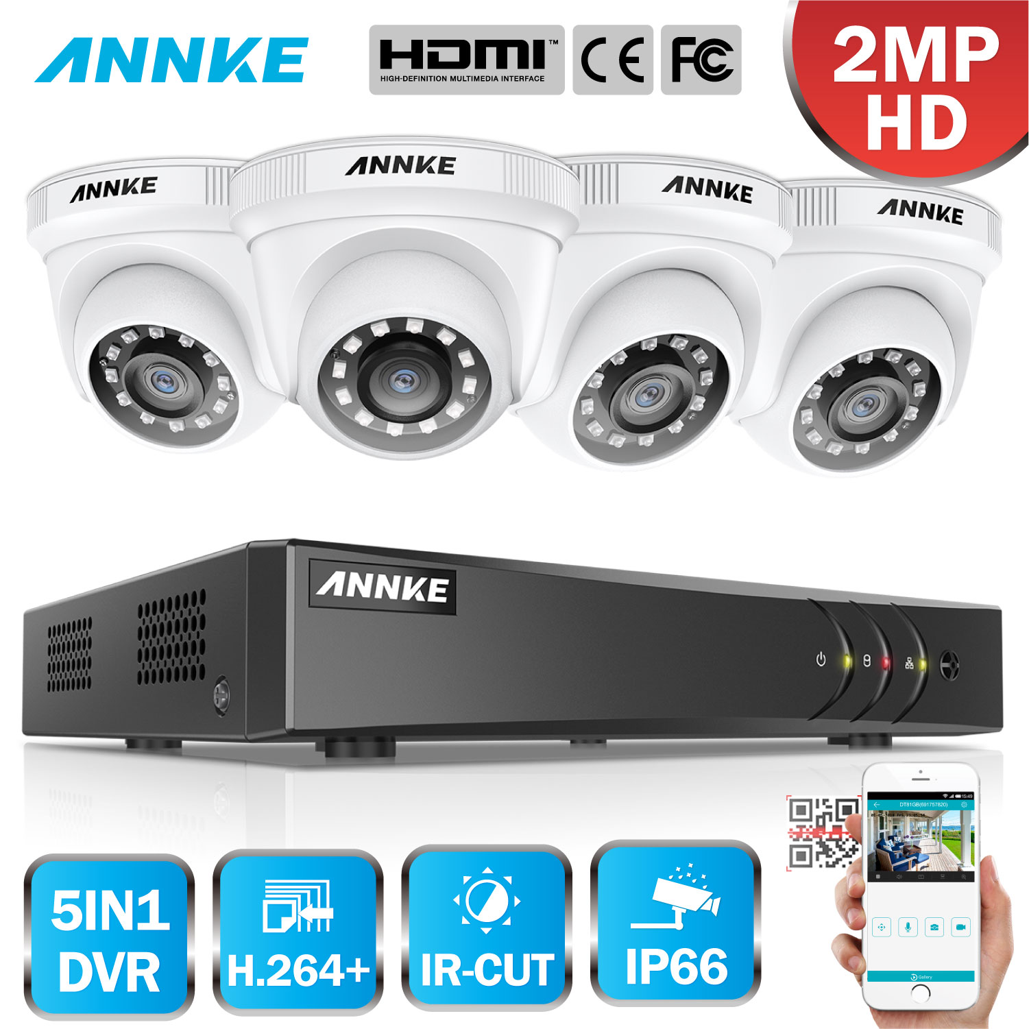 ANNKE 1080P 8CH Home Video Security System Lite H.264+ 5in1 1080N DVR 4PCS 1080P Smart IR Dome Outdoor Weatherproof CCTV Camera