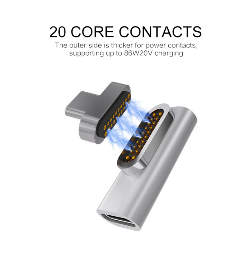 High Speed Magnetic Adapter For Macbook Pro 20 Pin USB Type C Charge Connector For Pixelbook Matebook For Xiaomi Mate 9 10 20