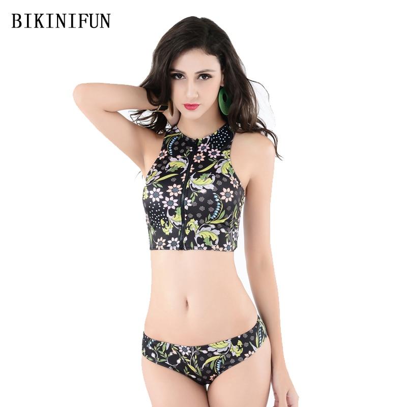 New Sexy Floral Print Bikini Women Swimsuit High Neck Bathing Suit S-3XL Girl Front Zipper Swimwear Low Waist Micro Bikini Set