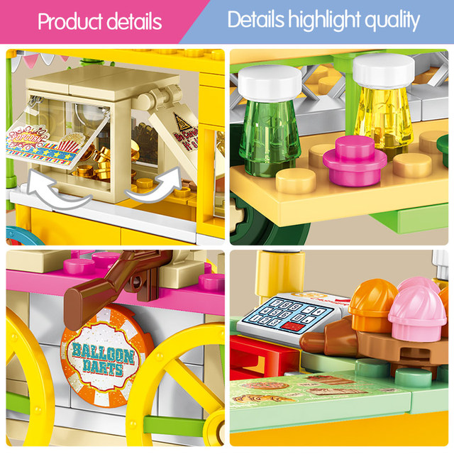 SEMBO Ideas Pastry House Hot Dog Car Building Blocks City Street View Construction Food Store Bricks Education Toys For Children