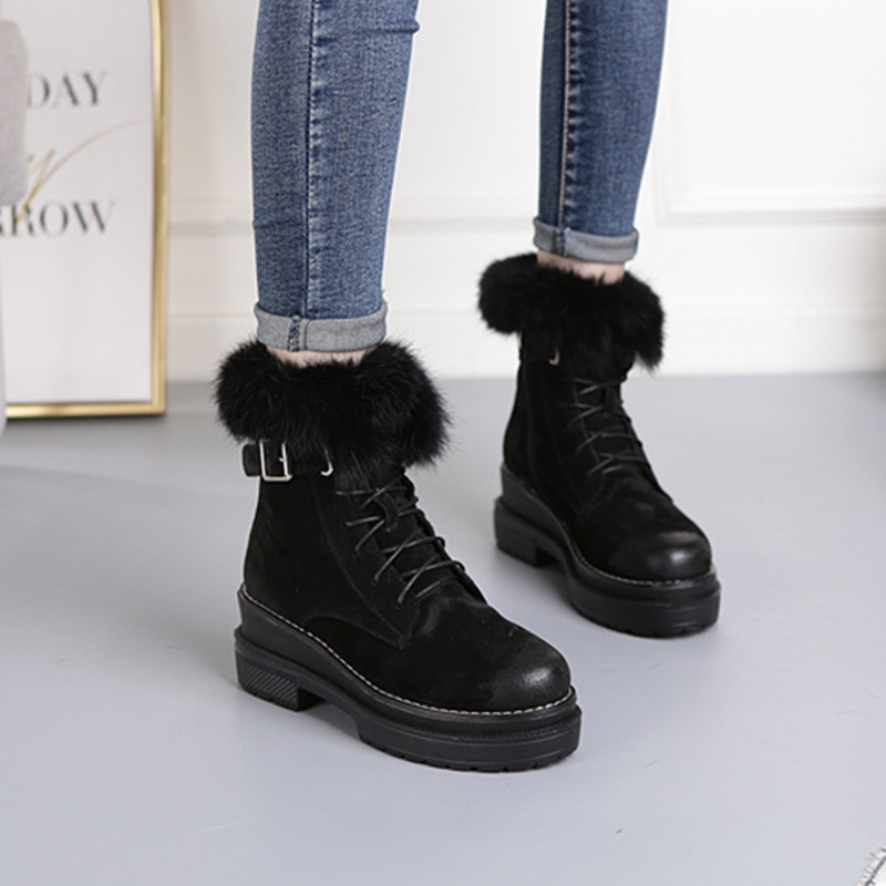 Image 2 - SWYIVY Rabbit Fur Winter Shoes Sneakers Women Ankle Boots Genuine Leather 2019 Winter New Plush Fur Snow Boots Warm Shoes Female-in Ankle Boots from Shoes