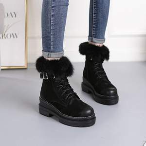 Image 2 - SWYIVY Rabbit Fur Winter Shoes Sneakers Women Ankle Boots Genuine Leather 2019 Winter New Plush Fur Snow Boots Warm Shoes Female