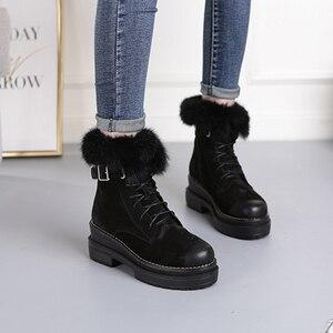 Image 2 - SWYIVY tavşan kürk kış ayakkabı Sneakers kadın yarım çizmeler hakiki deri 2019 kış yeni peluş kürk kar botları sıcak ayakkabı kadın