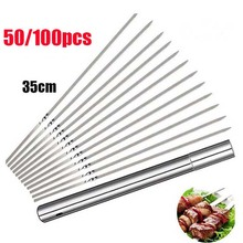 Barbecue-Skewers-Tube Needle-Sticks Grill Kabob Kitchen-Accessories Shish Stainless-Steel