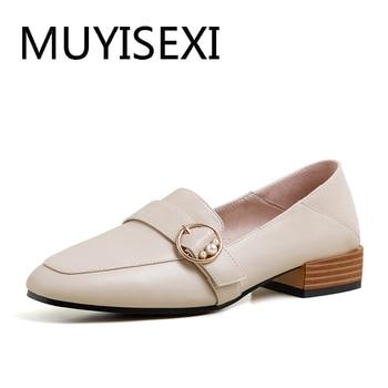 Metal decoration 2.5cm low heels round toe European daily wear preppy style maiden elegant pure color leisure shoe AM24 MUYISEXI
