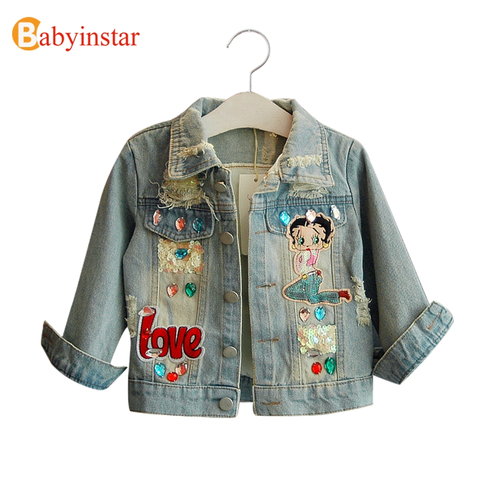 Babyinstar Fashion Children Girl's Denim Costume Outerwear & Coat For Girls New Spring Outfits Children's Jacket Kids Tops