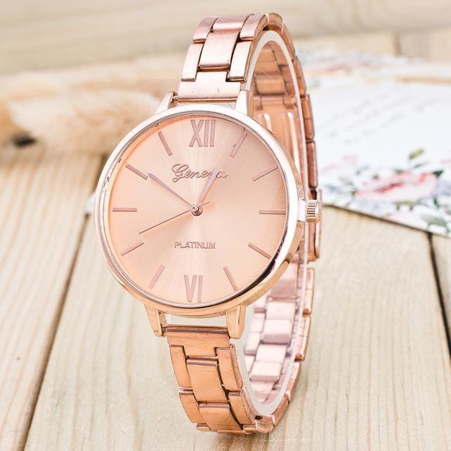 Fashion Geneva Watch Women Rose Gold Watches Full Alloy Quartz Wristwatches Luxury Women Dress Watches Cheap Price Free Shipping