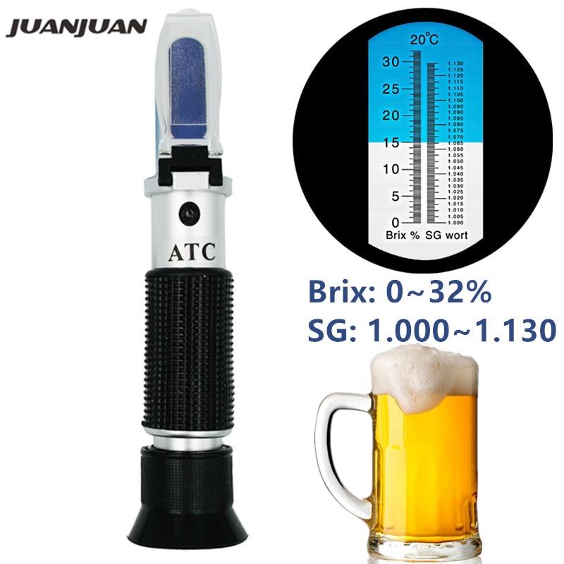 HandHeld Refractometer Beer Wort Wine Brix Refractometer ATC SG 1.000-1.130 And Brix 0-32% Tester Tools 47% Off