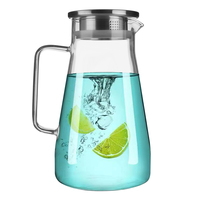 50oz Glass Pitcher with Stainless Steel Lid Hot Cold Water Jug Borosilicate Water Carafe Iced Tea Coffee Lemonade Carafe|Pitchers| |  -