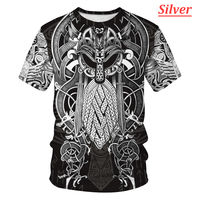 2021 Mannen Mode T-shirt 3d Printing Viking Tattoo T-shirt Unisex Populaire Cool Oversized T-shirt Ademend Casual Shirt
