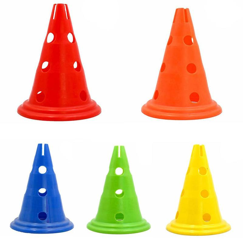 5 Pcs/set Outdoor Football Training Cone 30cm With Hole Round Bottom Mark Barrel Obstacle Equipment Hurdle Training Cone
