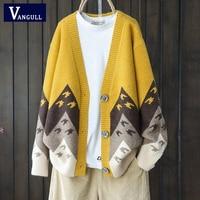 Cardigan maglione donna lavorato a maglia con stampa animalier Vangull cardigan monopetto manica lunga maglione modello gru di carta sciolto