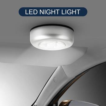 3LED Auto Car Interior Trunk Door Emergency Push Touch Light Night Reading Lamp For Car Home Wall Camping Battery Power image