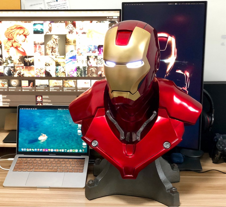 [Haut] 54cm Avengers fer homme 1:1 MK3 tête buste Portrait avec lumière LED GK Action Figure statue à collectionner modèle jouet cadeau