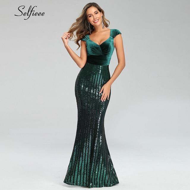 Sexy Sequin Dress Women Velour V-Neck Sleeveless Bodycon Mermaid Party Dress Sparkle Formal Maxi Dress Long Femme Robe 2020 1