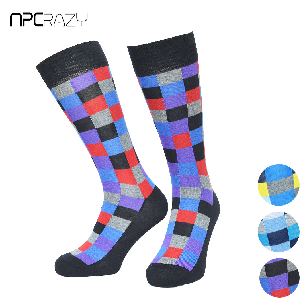 British Style Casual Men Socks Popular Colorful Cotton Mens Dress Chaussette Homme Long Tube Happy Calcetines