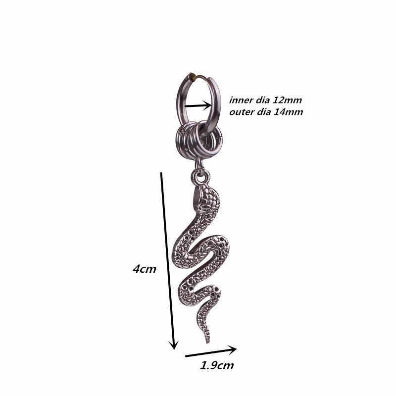 1 pcs ด้านใน DIA 12mm Antique เงินต่างหูผู้หญิงโกธิควงกลมงูขนาดเล็ก Hoop ต่างหูสแตนเลส DROP เรือ ok