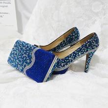 רויאל כחול צבעים קריסטל נעלי חתונה עם Macthing שקיות גבירותיי אופנה נעליים ותיק סט גבוהה פלטפורמת נעלי אישה