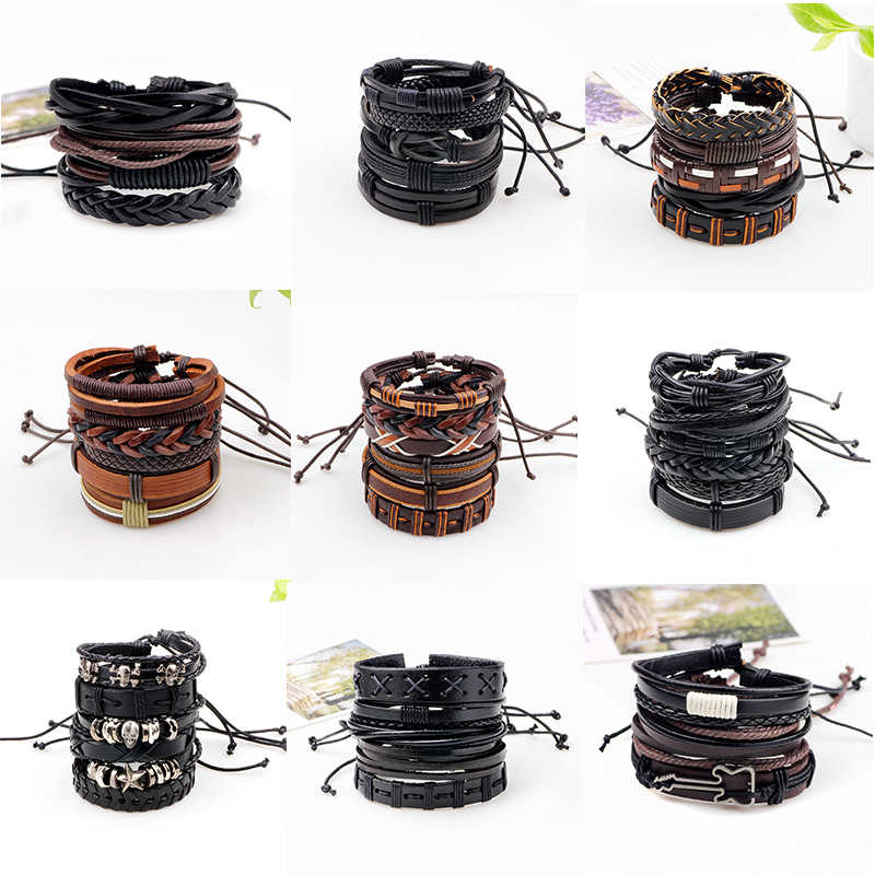 New Fashion Bohemia Adjustable Lacing Leather Bracelet For Men Gypsy Women Handmade Weaving Punk Charm Wrap Bracelets Bangles