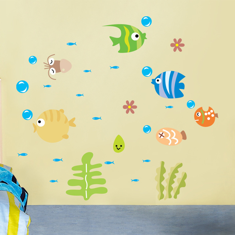 Wall Stickers For Kids Wall Stickers For Bathrooms Bathroom Wall Decals Lovely Tropical Cartoon Fish Sea Bubble Ocean World Removable Wall Sticker Decal Washroom Baby Room Decor