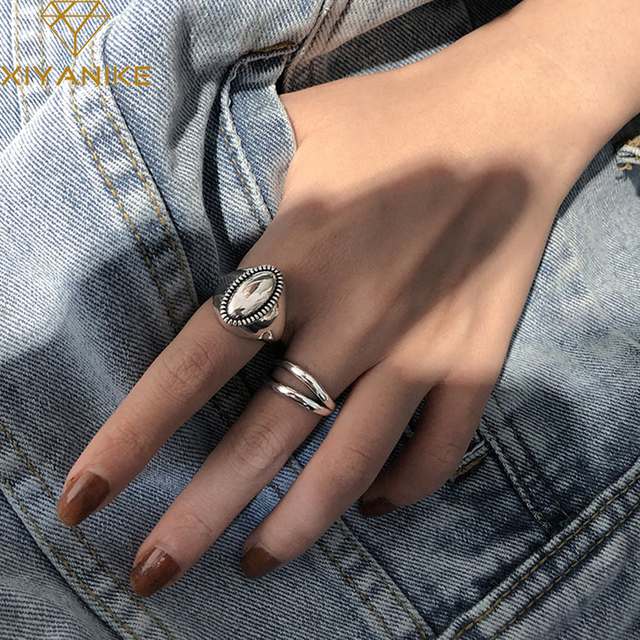 XIYANIKE 925 Sterling Silver Oval Shaped Thai Silver Rings Minimalist  Double Layer Ring for Women Party Jewelry 2020 New 1