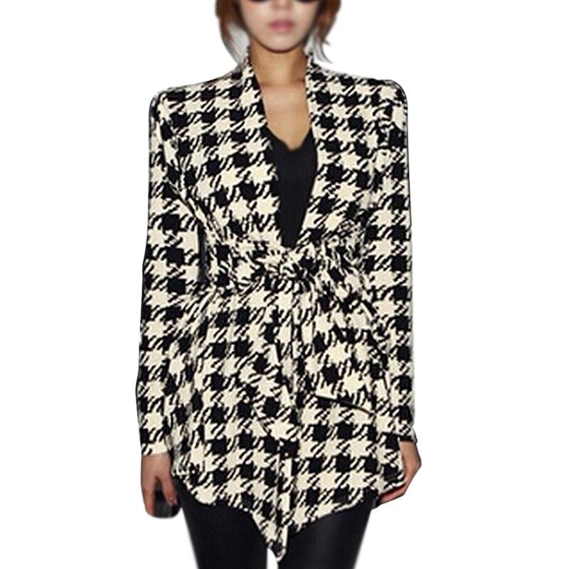 Fashion Spring Women's Long Sleeve Houndstooth Print Open Needle Belt Peplum Slim Jacket Cardigan Coat Top -XL
