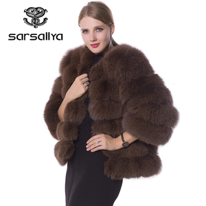 Image 1 - Echte Bontjas Vrouwen Blauw Vos Bont Jas Jas Winter Natuurlijke Bontjas Korte Afneembare Mouwen Vest Plus Size Vrouwelijke kleding 2019