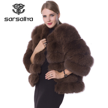 Real Fur Coat Women Blue Fox Fur Jacket Coat Winter Natural Fur Coat Short Detachable Sleeves Vest Plus Size Female Clothes 2019