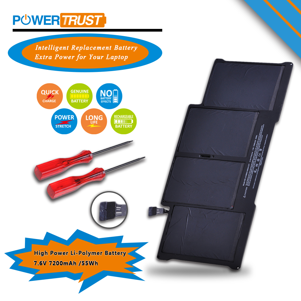 """PowerTrust 7.3V 50wh A1405 Laptop Battery for Apple Macbook Air13"""" inch A1377 A1369 Late 2010 Mid 2011 2013 Early 2014 2015"""