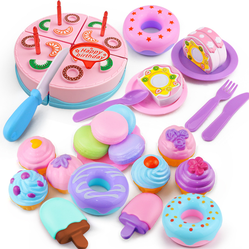 [32 Pieces] Macaroon Color Cake + Dessert + Macarons + Donuts + Ice Cream Play House Toys