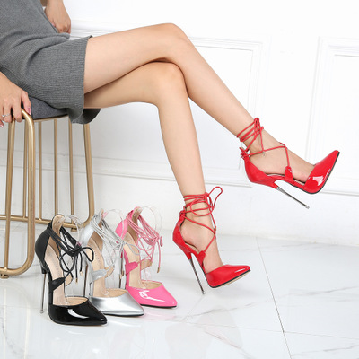 2020 Women Sandals Dress Shoes High Heels 16CM Ladies Wedding Shoes Summer Patent Leather Women Shoes Pointed Toe Female Sandals