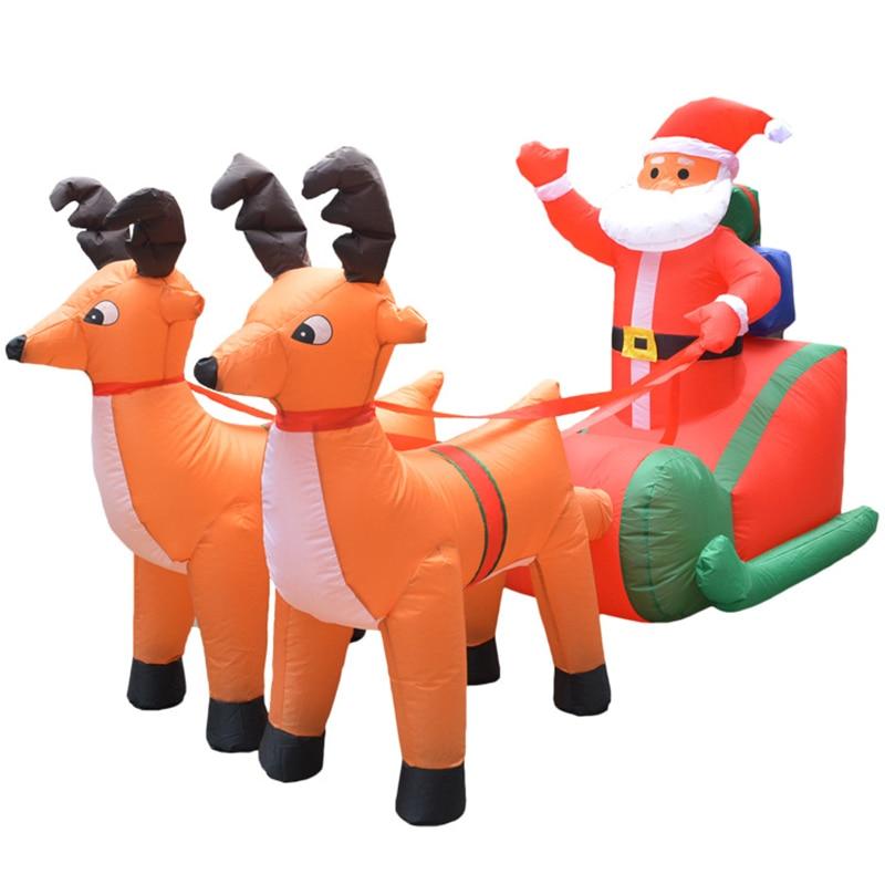 Eu Plug Kerst Opblaasbare Herten Winkelwagen Kerst Dubbele Herten Winkelwagen Kerstman Kerst Dress Up Decoraties Welkom Rekwisieten