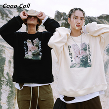 CoooColl 19FW Fashion Oversized ASAP ROCKY DIRTY destroy Cartoon rabbit Autumn and winter thermal Men Casual tops SWEATSHIRT