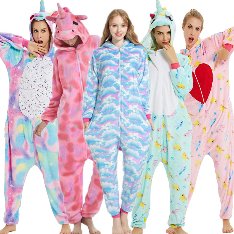 Unicorn Kigurumi Onesie Adult Women Animal Pajamas Suit Flannel Warm Soft Sleepwear Onepiece Winter Jumpsuit Pijama Cosplay