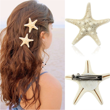 Fashion Vacation Pretty Hairclip Accessories Europe Women Lady Girls Natural Starfish Beige Hair Pin Seaside Barrettes Beautyful(China)