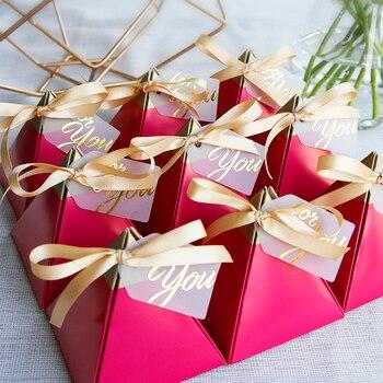 Pirámide Triangular roja Rosa dulces caja regalos de boda Cajas de Regalo de papel bolsas de Chocolate regalo embalaje caja decoración nupcial