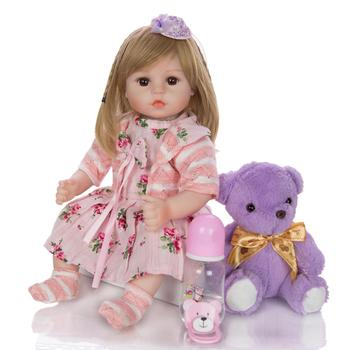 "Lovely Bebe reborn toddler Girl baby doll 18"" soft silicone reborn baby dolls alive newborn bebe l.o.l for child surprises gift"