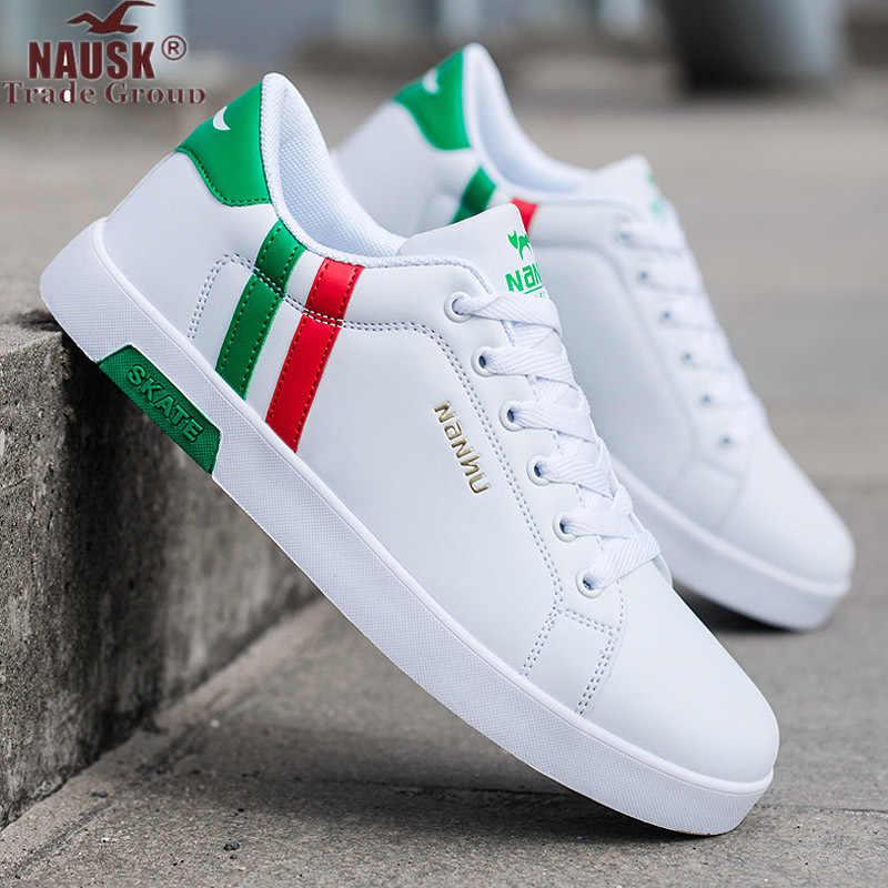 Zapatos casuales de marca de alta calidad para hombre, zapatos casuales de primavera y otoño, zapatos de hombre transpirables, de Moda Verde, casuales, blancos